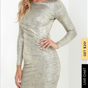 Lulus Luxe of My Life Gold Long Sleeve Dress